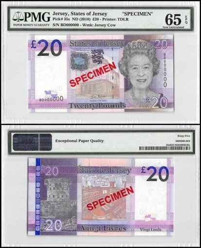 Jersey 20 Pounds, ND 2010, P-35s, BD Series, Queen Elizabeth II, Specimen, PMG 65
