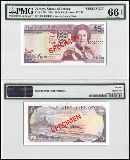 Jersey 5 Pounds, ND 1993, P-21s, DC Series, Queen Elizabeth II, Specimen, PMG 66