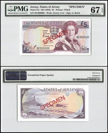 Jersey 5 Pounds, ND 1993, P-21s, HC Series, Queen Elizabeth II, Specimen, PMG 67