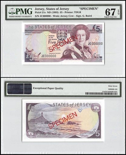 Jersey 5 Pounds, ND 1993, P-21s, JC Series, Queen Elizabeth II, Specimen, PMG 67