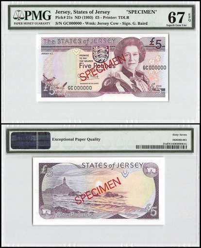 Jersey 5 Pounds, ND1993, P-21s, GC Series, Queen Elizabeth II, Specimen, PMG 67