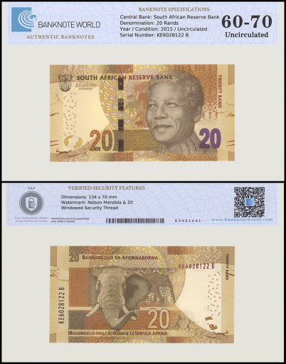 South Africa 20 Rands Banknote, 2015, P-139, UNC, TAP 60 - 70 Authenticated