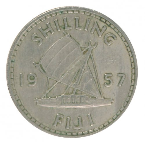 Fiji 1 Shilling 5.6 g Copper Nickel Coin, 1957, KM #23,  XF - Extremely Fine