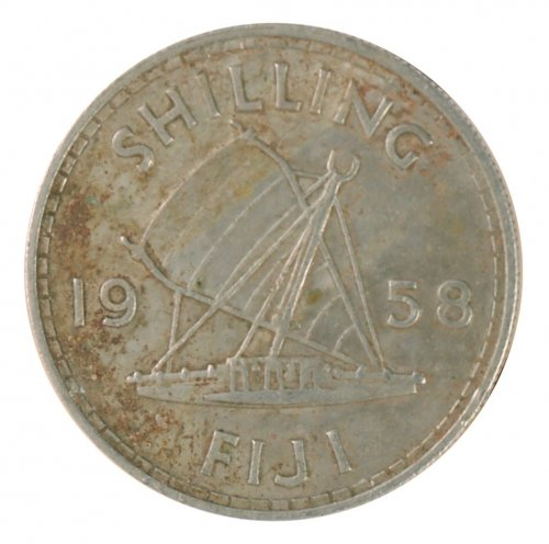 Fiji 1 Shilling 5.6 g Copper Nickel Coin, 1958, KM #23, F - Fine