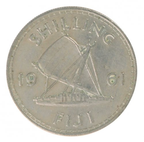 Fiji 1 Shilling 5.6 g Copper Nickel Coin, 1961, KM #23, XF - Extremely Fine