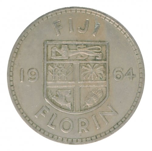 Fiji 1 Florin 11.2 g Copper Nickel Coin, 1964, KM #24, XF - Extremely Fine