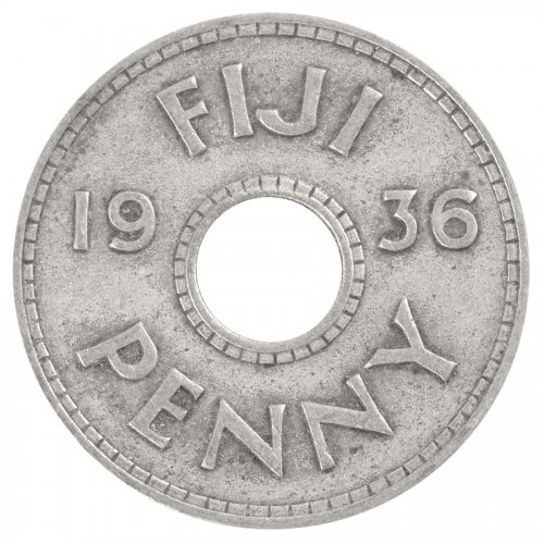 Fiji 1 Penny 6.5 g Copper Nickel Coin, 1936, KM #2, F - Fine