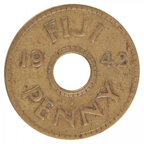 Fiji 1 Penny 6.5 g Brass Coin, 1942, KM #7a, XF - Extremely Fine