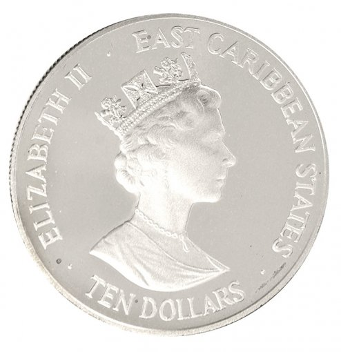 Eastern Caribbean 10 Dollars 28g Silver Proof Coin, 1997, Mint