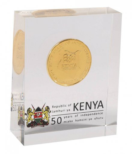 Kenya 50 Shillings 28g Gold Plated Coin Block, 2013, Mint, 50th Anniversary Independence