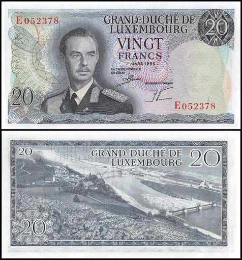 Luxembourg 20 Francs Banknote, 1966, P-54a, UNC