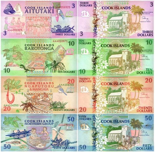 Cook Islands 3 - 50 Dollars 4 Pieces Banknote Set, 1992, P-7-10, UNC, Stains