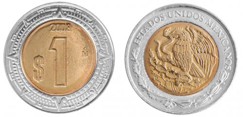 Mexico 1 Peso 3.95g Bi-Metallic Coin, 2008, KM # 603, Golden Eagle