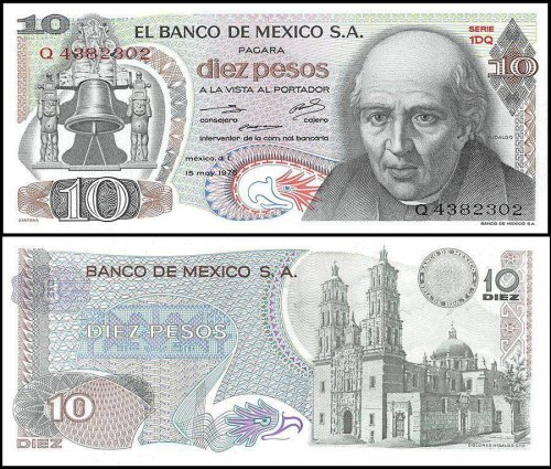 Mexico 10 Pesos Banknote, 1975, P-63h, UNC, Series 1DQ