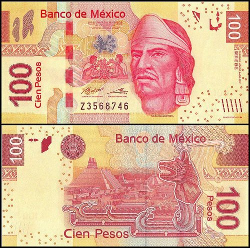 Mexico 100 Pesos Banknote, 2017, P-124, UNC, Series BE