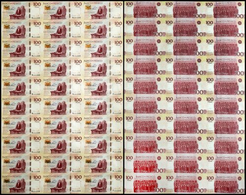 Mexico 100 Pesos, 2017, P-130, 30 Pieces Uncut Sheet, UNC