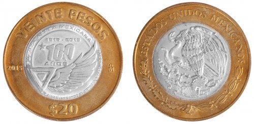 Mexico 20 Peso 16 g Bimetallic Coin, 2015, KM # 986, Mint, 100 Years of the Mexican Air Force