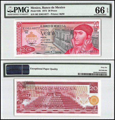 Mexico 20 Pesos, 1973, P-64b, Series BE, PMG 66
