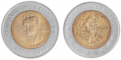 Mexico 5 Pesos Coin, 2008, KM # 901, Mint, Centenary of Revolution, Heriberto Jara