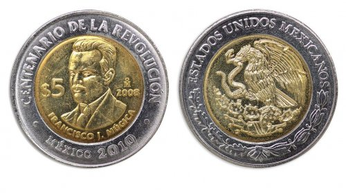 Mexico 5 Pesos Coin, 2008, KM # 905, Mint, Centenary Revolution, Francisco Mugica
