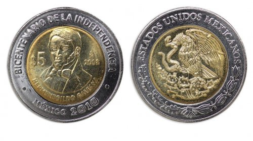 Mexico 5 Pesos Coin, 2008, KM # 906, Mint, Bicentenary Independence, Galeana