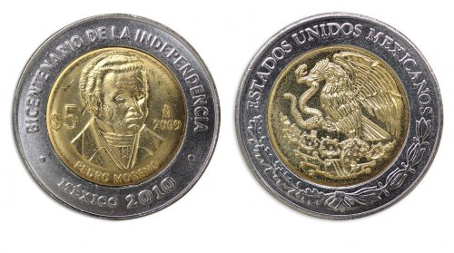 Mexico 5 Pesos Coin, 2009, KM # 910, Mint, Bicentenary Independence, Pedro Moreno