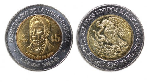 Mexico 5 Pesos Coin, 2009, KM # 914, Mint, Bicentenary Independence, Nicolas Bravo