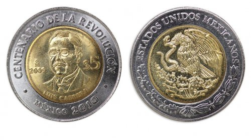 Mexico 5 Pesos Coin, 2009, KM # 913, Mint