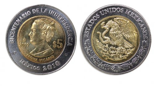 Mexico 5 Pesos Coin, 2010, KM # 919, Mint, Bicentenary Independence, Leona Vicario