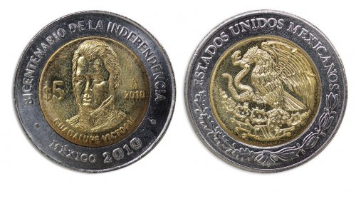 Mexico 5 Pesos Coin, 2010, KM # 929, Mint, Bicentenary Independence, Victoria