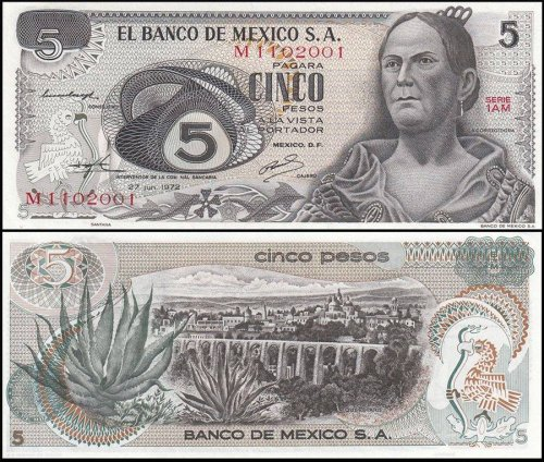 Mexico 5 Pesos Banknote, 1972, P-62c, UNC, Series 1AM