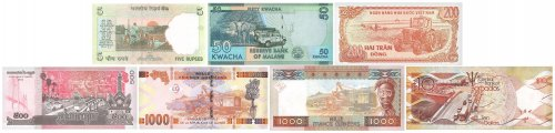 World Turnpike, 7 Pieces Banknote Set, UNC