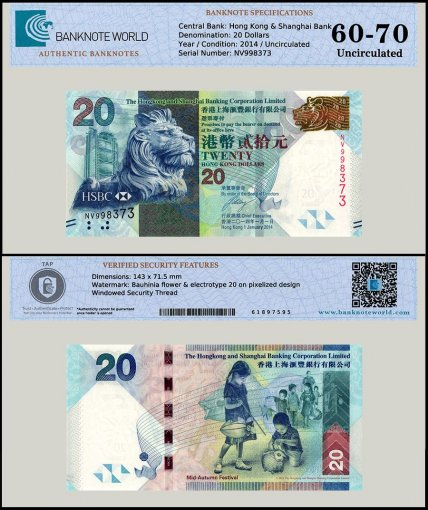 Hong Kong 20 Dollars Banknote, 2014, P-212d, UNC, TAP 60 - 70 Authenticated