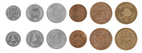Nepal 10 Paisa - 5 Rupees, 6 Piece Coin Set, 1996 - 2009, Mint