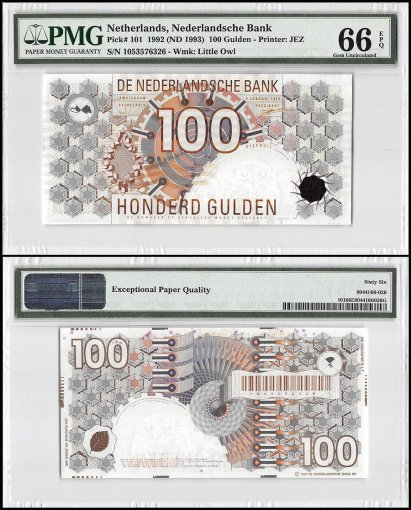 Netherlands 100 Gulden, 1992, ND 1993, P-101, PMG 66