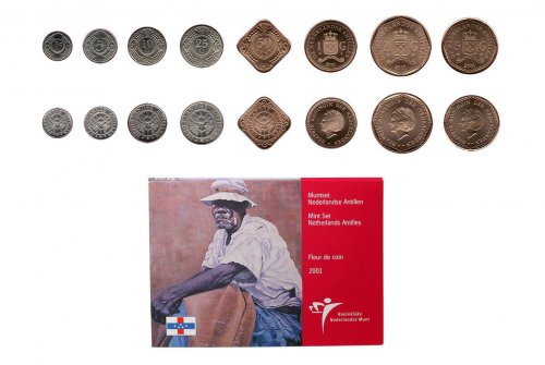 Netherlands Antilles 1 Cent - 5 gulden, 8 Piece Full Coin Set, 2001, Mint, Griffith