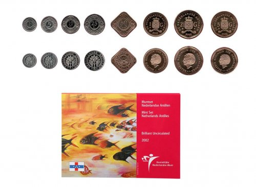 Netherlands Antilles 1 Cent - 5 gulden, 8 Piece Full Coin Set, 2002, Mint, Artist