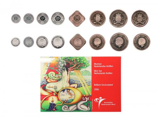 Netherlands Antilles 1 Cent - 5 gulden, 8 Piece Full Coin Set, 2006, Mint, Painters