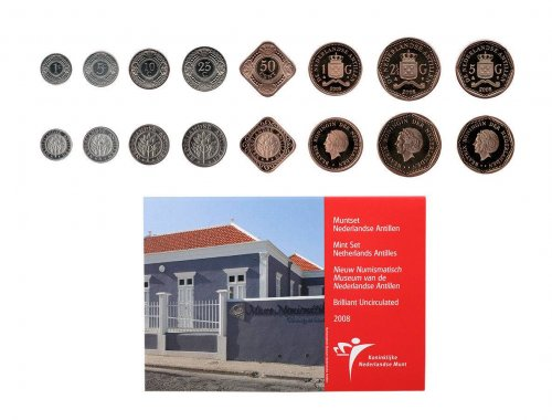 Netherlands Antilles 1 Cent - 5 gulden, 8 Piece Full Coin Set, 2008, Mint, Museum