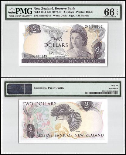 New Zealand 2 Dollars, ND 1977-1981, P-164d, Queen Elizabeth II, PMG 66