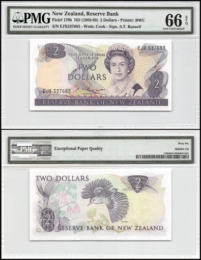 New Zealand 2 Dollars, ND 1985-89, P-170b, Queen Elizabeth II, PMG 66