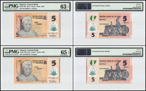 Nigeria 5 Naira 2 Piece Set, 2013, P-38d, Matching Serial #, PMG