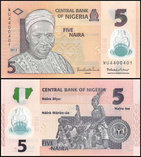Nigeria 5 Naira Banknote, 2013, P-38d, UNC, Polymer