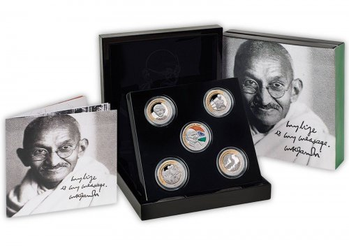 Niue 1 Dolar 1 oz. Silver, 5 Piece Coin Set, Gandhi 100 Years Return to India