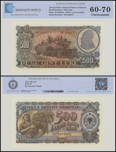 Albania 500 Leke Banknote, 1957, P-31a, UNC, TAP Authenticated