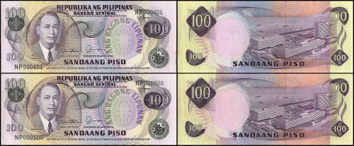 Philippines 100 Piso Low Serial X 100, 1978, P-164c, UNC, Bundle # 000401
