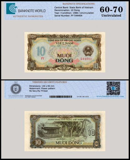 Vietnam 10 Dong Banknote, 1980, P-86, Uncirculated, TAP 60 - 70 Authenticated