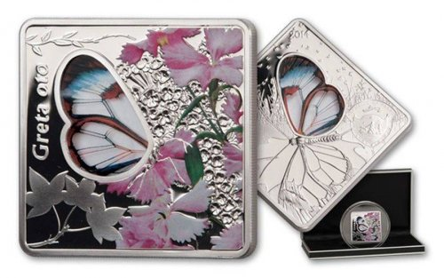 Palau 10 Dollars 50g Silver Proof Coin, 2014, Greta Oto Butterfly Colored Glass