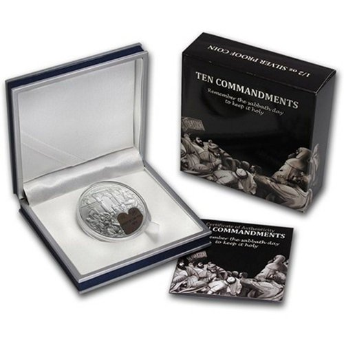 Palau 2 Dollars 1/2oz Silver Proof Coin, 35 mm, 2014, 3rd Ten Commandments