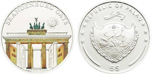 Palau 5 Dollars 20g Silver Coin, 2012, Mint, World Of Wonders, Brandenburg Gate